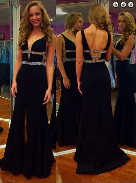 Black Backless Prom Dresses Black Evening Dresses