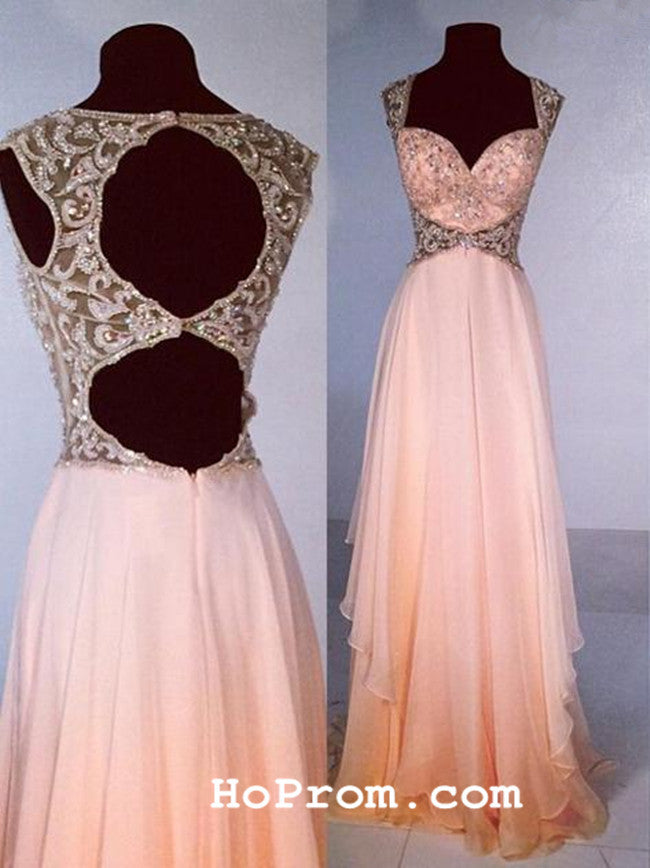 Cap Sleeve Prom Dress Chiffon Evening Dress