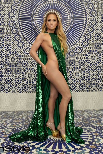 Green Jennifer Lopez (JLo) Versace Dress Sparkly Prom Celebrity Dress InStyle's December