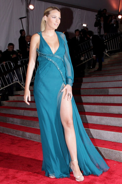 Blue Blake Lively Backless One Shoulder Dress V Neck Prom Celebrity Formal Dress Met Gala Red Carpet