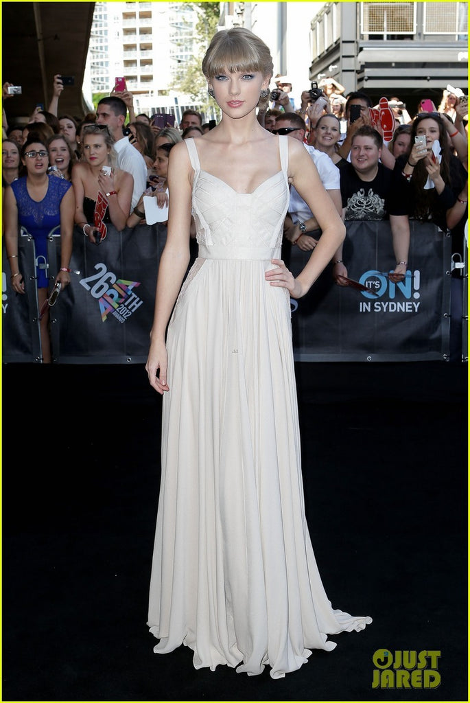 White Taylor Swift Chiffon Fit Pastel Lace Dress Pleated prom Celebrity formal Dress ARIA Awards