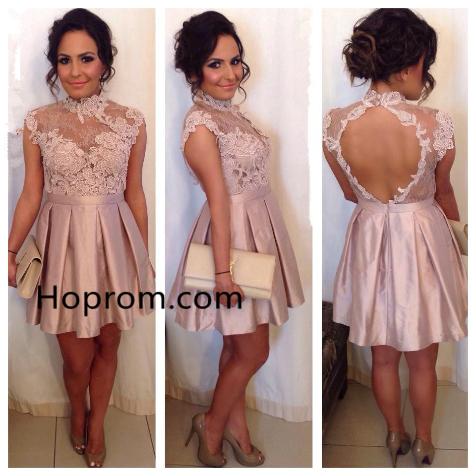 High Neck Cocktail Dresses Lace Appliques Pink Homecoming Dress