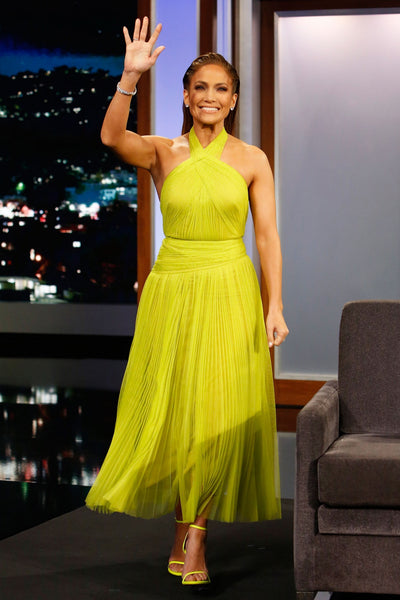 Yellow Jennifer Lopez (JLo) Halter Dress Ruched Prom Celebrity Dress Jimmy Kimmel Live