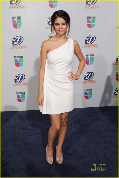 White Selena Gomez Short One shoulder Dress Prom Celebrity Formal Dress Univision Premios Juventud Awards