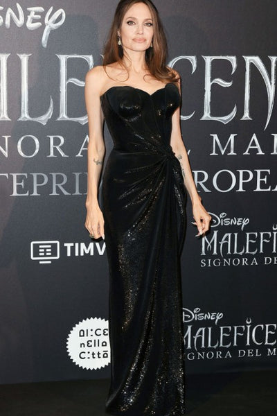 Black Angelina Jolie Sequin Gown Strapless Dress Best Prom Celebrity Red Carpet Dress Maleficent Mistress Of Evil Premiere