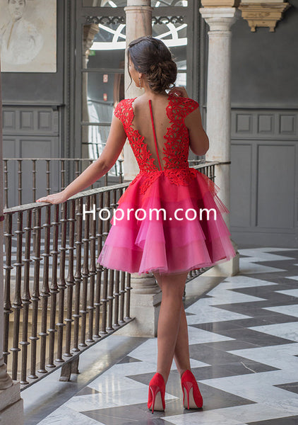2020 Red Homecoming Dresses Lace Sleeves Multi Colors Short Cocktail Dress