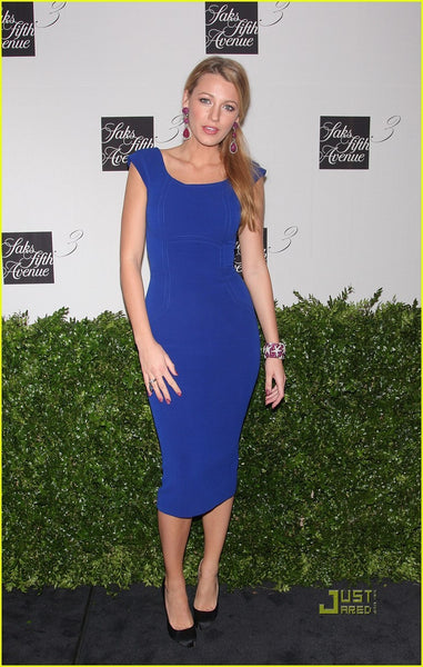 Blue Blake Lively Cocktail Sheath Prom Party Ball Gowns Celebrity Dress For Sale