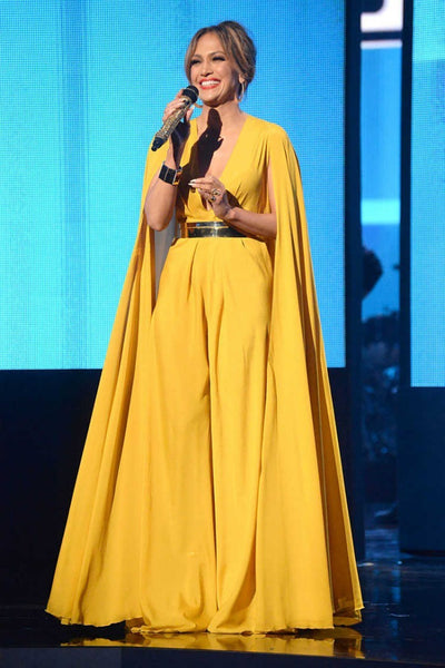 Yellow Jennifer Lopez (JLo) Sexy Cape Dress V Neck Prom Celebrity Formal Dress AMA