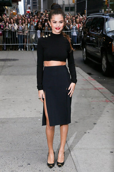 Black Selena Gomez Two Piece Prom Celebrity Evening Dress The Late Show With David Letterman