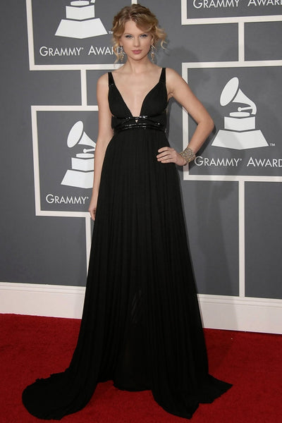 Black Taylor Swift V Neck Backless Dress Long Prom Red Carpet Evening Dress Grammys