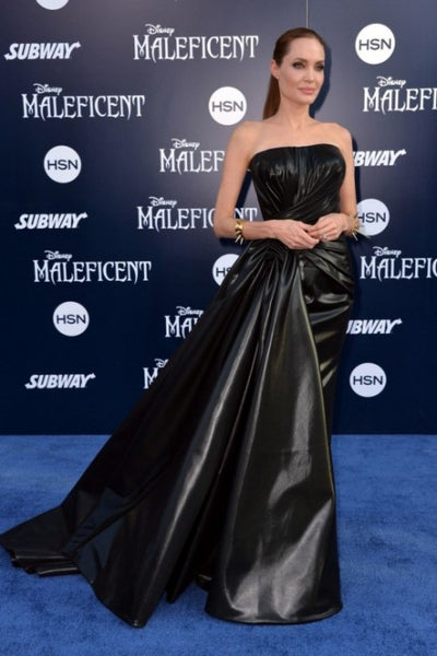 Black Leather Angelina Jolie Asymmetrical Dress Strapless Prom Gown Celebrity Red Carpet Formal Dress Maleficent Premiere