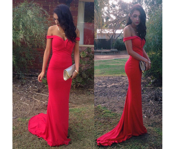 Red Off Shouilder Prom Dresses Simple Evening Dresses