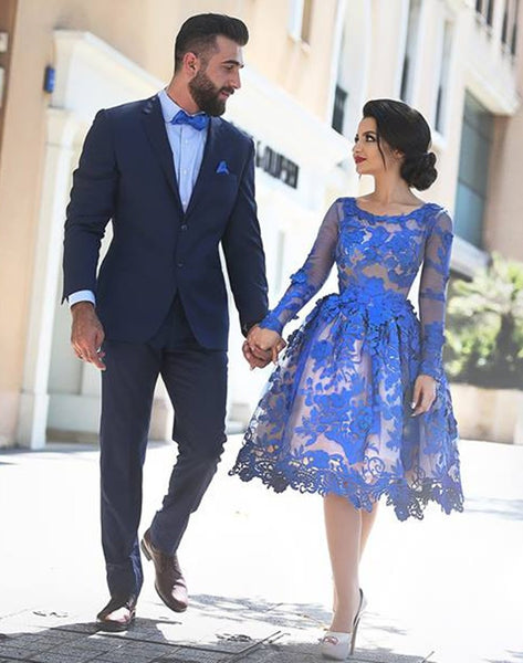 Royal Blue Prom Dresses,Lace Prom Dress,Short Evening Dress