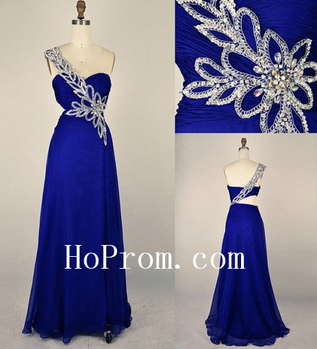 Blue Long Prom Dress,One Shoulder Prom Dresses,Evening Dress