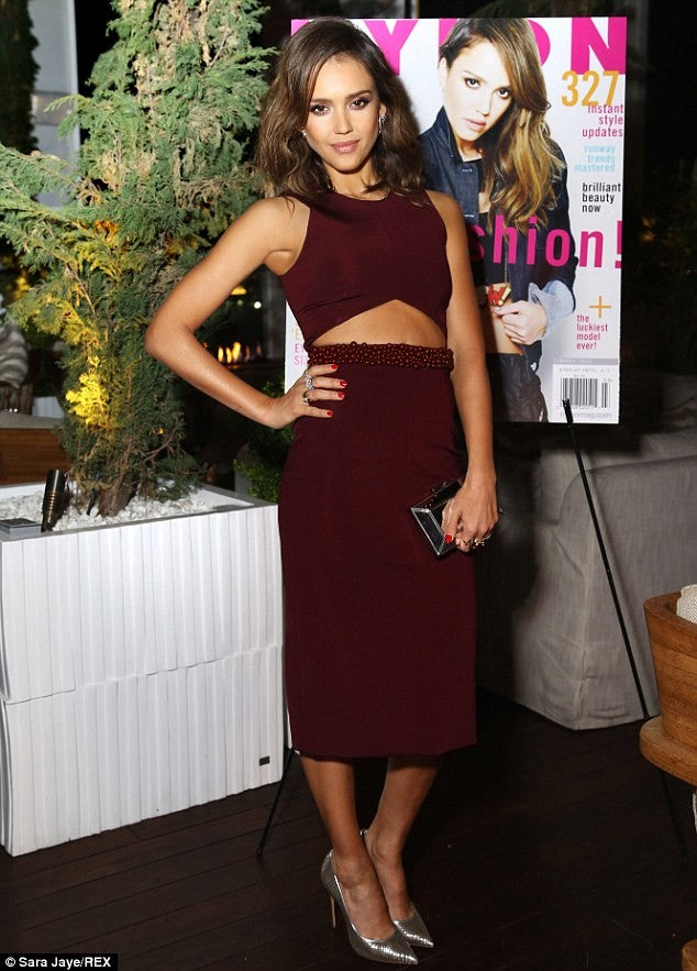 Burgundy Jessica Alba Cutout Beaded Tea Length Dress Sequins Prom Celebrity Evening Dress Online