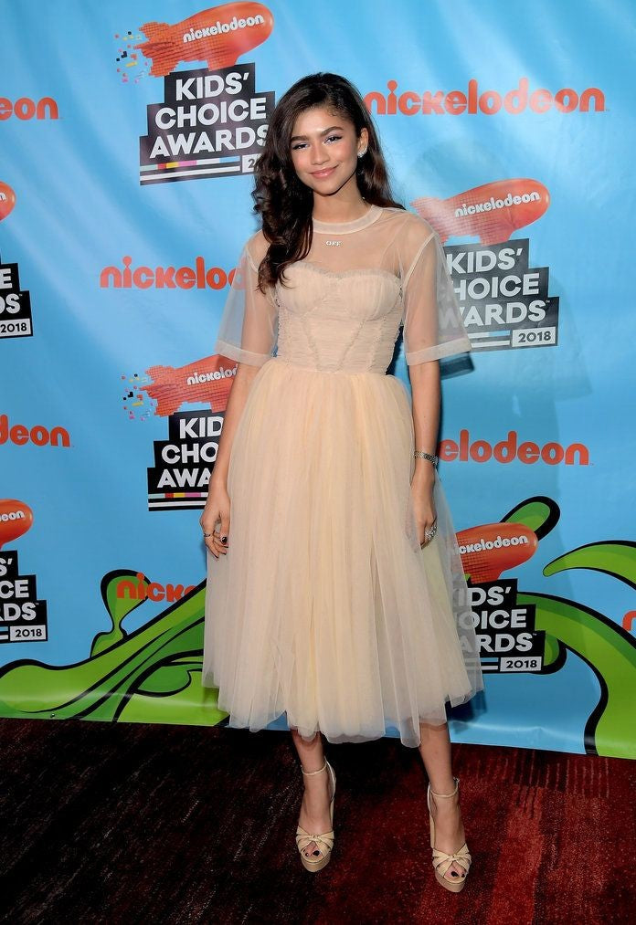 Ivory Zendaya Coleman Half Sleeve Round Neck Dress Sheer Prom Celebrity Formal Gown Dress Nickelodeon's Kids' Choice Awards