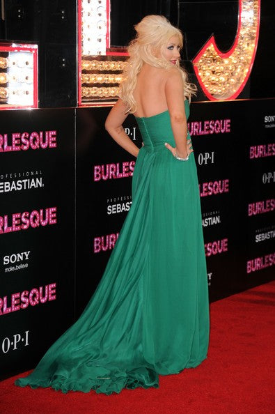 Green Christina Aguilera Strapless Dress Ruched Prom Red Carpet Evening Dress Burlesque Los Angeles Premiere