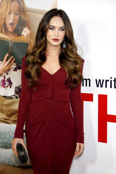 Burgundy Megan fox Long Sleeve Body Fitting Prom Dress Prom Celebrity Evening Dress LA premiere of 'This Is 40