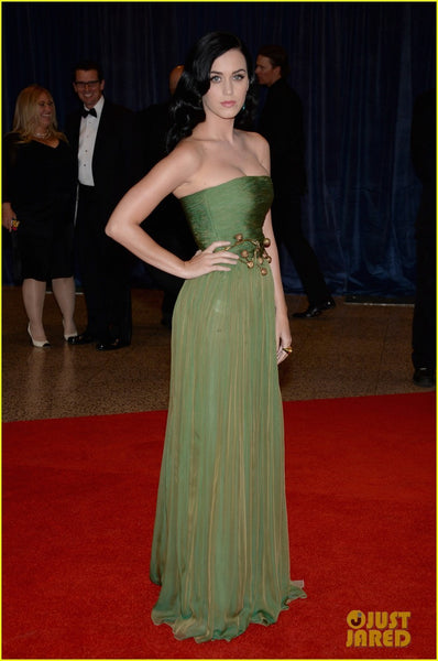 Green Katy Perry Strapless Chiffon Dress Ruched Prom Red Carpet Formal Dress White House Correspondents' Association