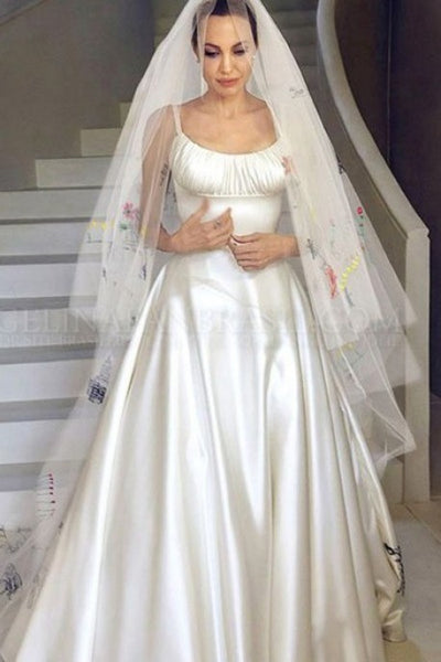 White Angelina Jolie Satin Round Neck Wedding Dress Celebrity Wedding Dress Replica For Sale