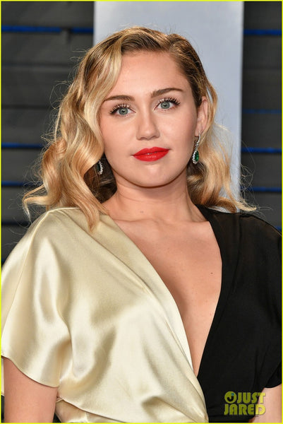 Two tone Miley Cyrus Front Slit V Neck Half Sleeve Dress Party Prom Celebrity Formal Gown Dress Vanity Fair Oscar