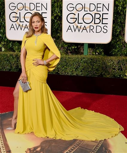 Yellow Jennifer Lopez (J.Lo) Cape Sequin Dress Slit Prom Celebrity Red Carpet Dress Golden Globes