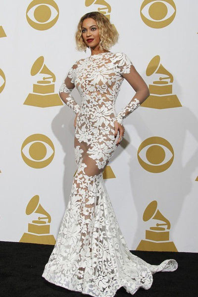 White Beyonce Knowles Mermaid Long Sleeve Dress Lace Gown Prom Red Carpet Evening Dress Grammy Awards