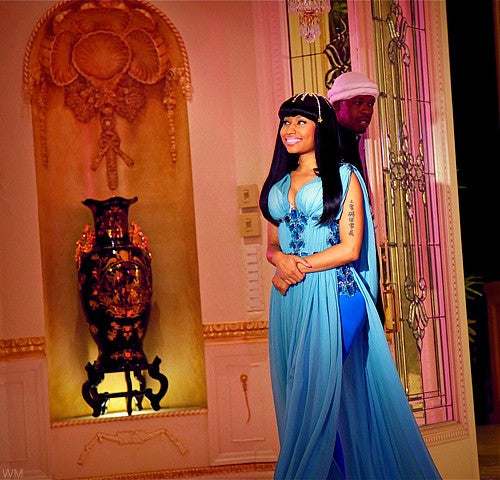 Blue Nicki Minaj Beading Dress Ruffled Prom Celebrity Formal Gown Dress at Glamorous Moments for Life