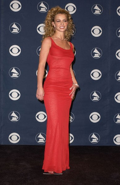 Red Britney Spears Open Back Round Neck Dress Chiffon Prom Grammy Awards