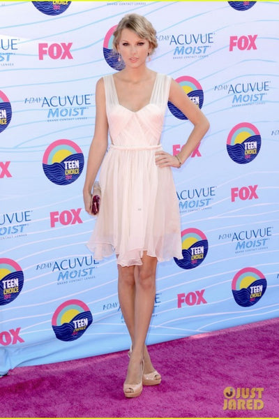 Pink Taylor Swift Knee Length Dress Open Back Prom Red Carpet Dress Teen Choice Awards