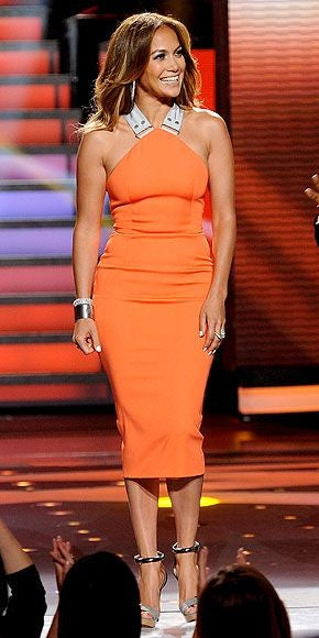 Orange Jennifer Lopez (JLo) Best Short Party Halter Dress Tea Length Criss Cross Back Prom Celebrity Evening Dress For Sale