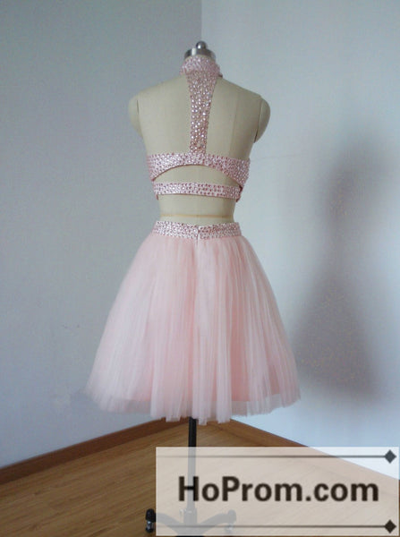 Two Piece Pink Beading Short Prom Dresses Homecoming Dresses