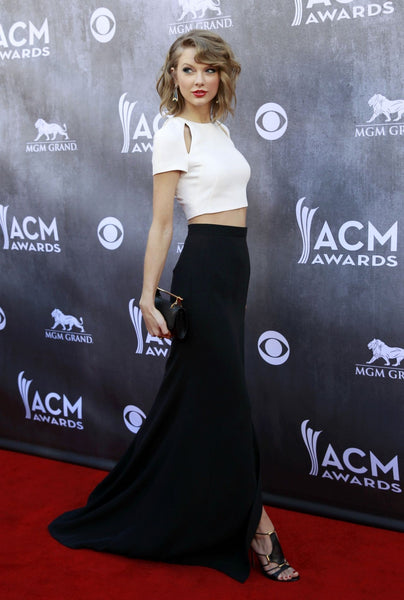 Black White Taylor Swift Two piece Dress Slit Prom Red Carpet Formal Dress ACM Awards