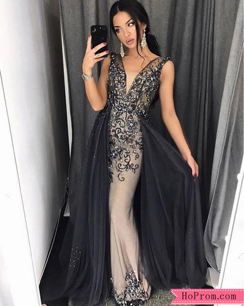 Black Embellished Plunging Neck Column Prom Dress