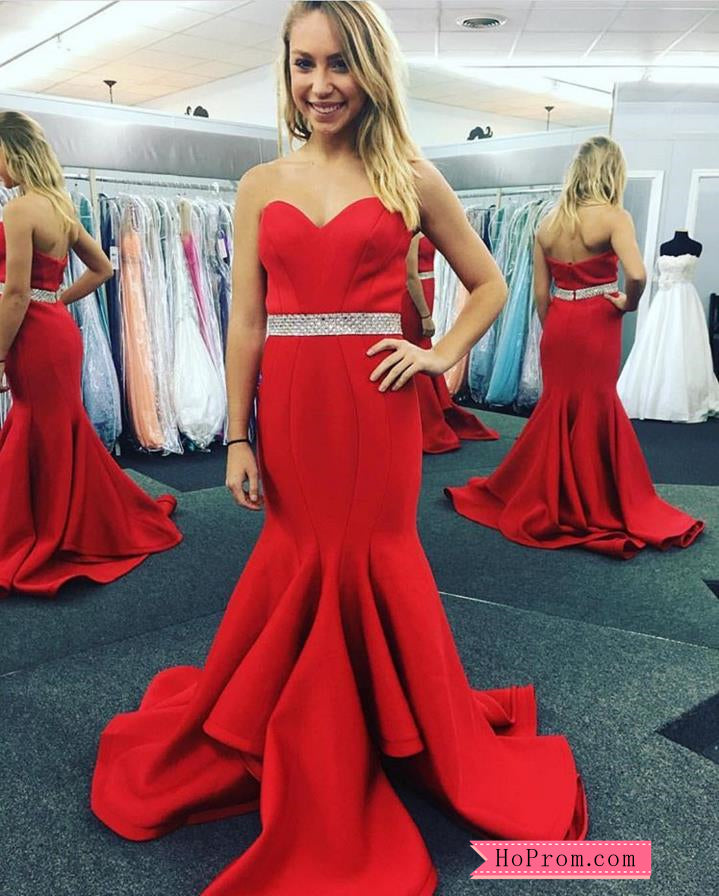 d7eab700b384 Strapless Sweetheart Red Fitted Mermaid Prom Dress with Beading – Hoprom