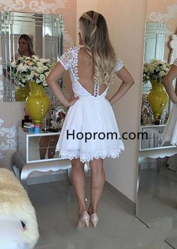 2020 White Short Homecoming Dresses Lace Beaded Top Graduation Dresses