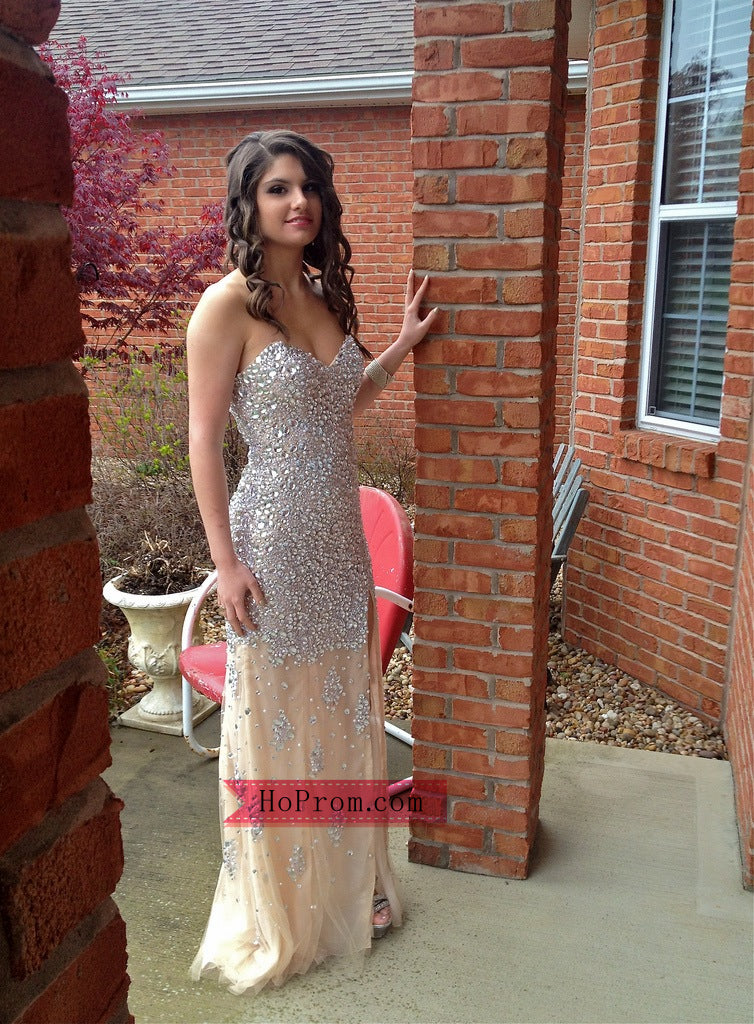 Sweetheart Jewel Beaded Prom Dresses