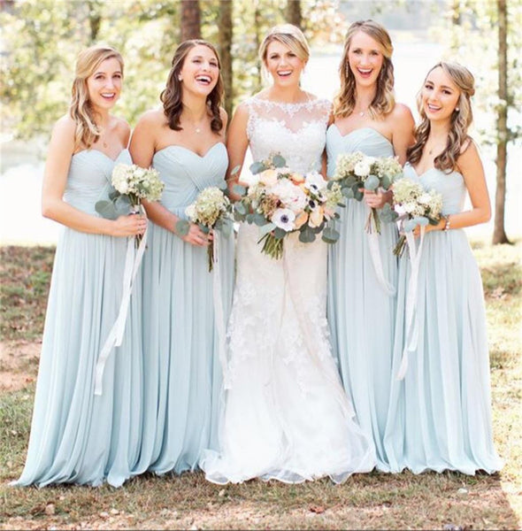 Blue Chiffon Sweetheart Simple Popular Normal Long Bridesmaid Dresses