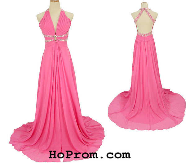 Backless Prom Dress Halter Prom Dresses Evening Dress