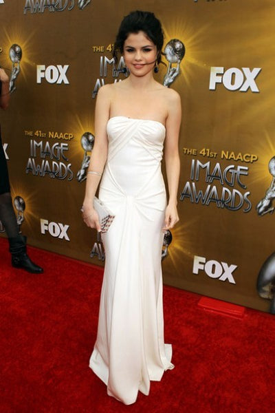 White Selena Gomez Off the shoulder Dress Sleek Prom Red Carpet Formal Dress NAACP Image Awards