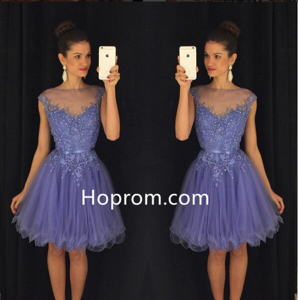 Beadings Tulle Lavender Cap-Sleeves A-Line Homecoming Dress