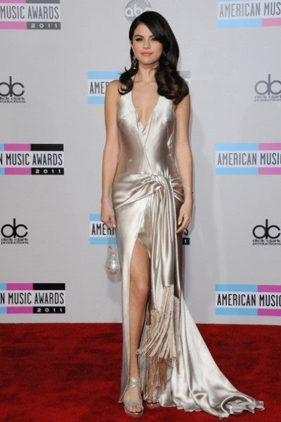 Silver grey Selena Gomez V Neck Slit Halter knot Dress Satin Prom Best Red Carpet Formal Dress AMA