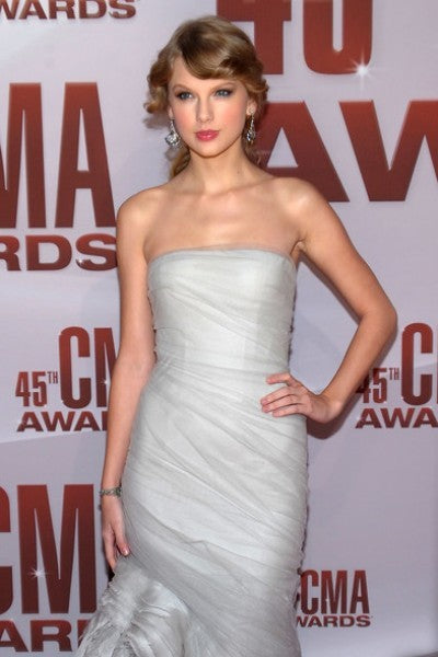 Silver grey Taylor Swift Asymmetrical Dress Strapless Prom Best Red Carpet Formal Dress CMA Awards