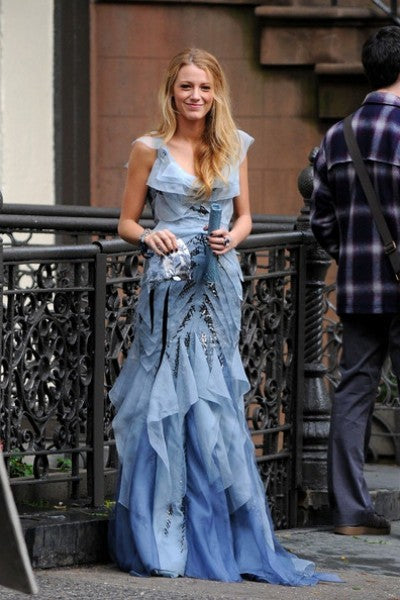 Blue Blake Lively Serena van der Woodsen Sequins Dress Round Neck Prom Celebrity Dress Gossip Girl