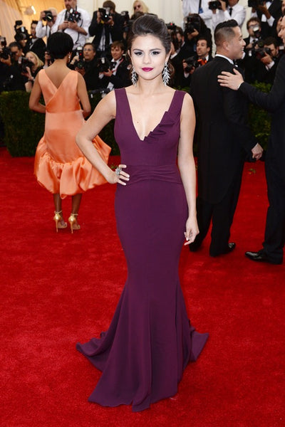 Grape Selena Gomez V Neck Dress Mermaid Prom Best Red Carpet Celebrity Formal Dress Met Gala