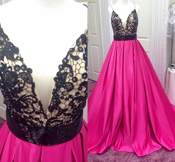 Deep V Neck Prom Dresses Evening Dresses