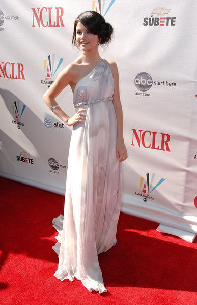 White Selena Gomez One Shoulder Dress Empire Waist Prom Celebrity Red Carpet Dress ALMA Awards