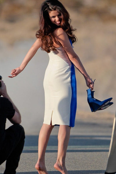 Blue White Selena Gomez Knee Length Prom Celebrity Evening Dress Outfit Music Video Shoot