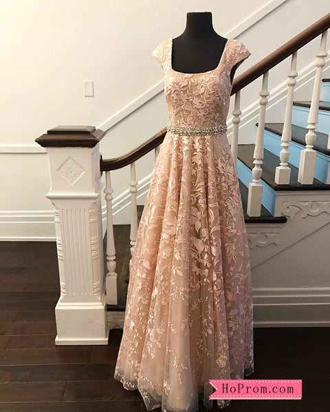 A Line Applique Prom Dress Tank Straps Beaded Waist Band