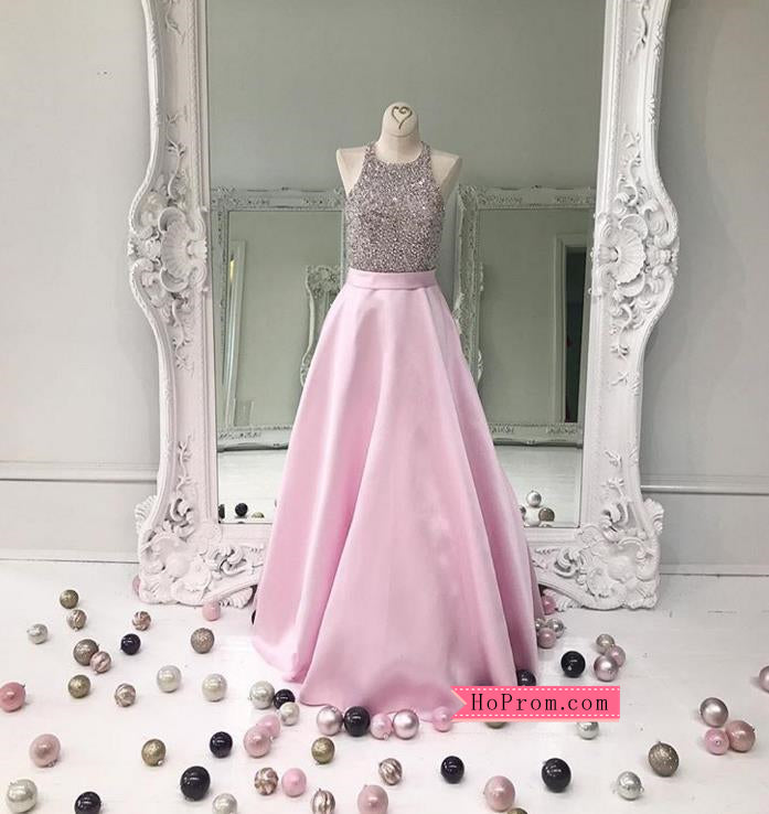 Pink Jeweled Bodice Satin Ball Gown Prom Dresses